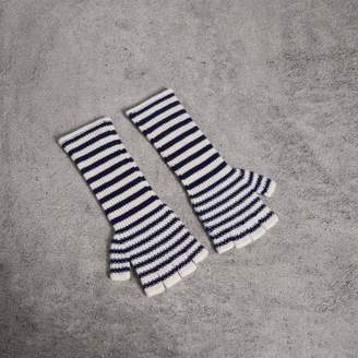 Burberry Striped Cashmere Fingerless Gloves