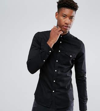 Asos DESIGN Tall skinny denim western shirt in black