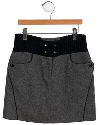 Ermanno Scervino Girls' Wool Colorblock Skirt