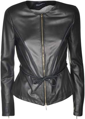 Emporio Armani Drawstring Leather Jacket