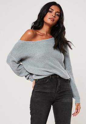 Missguided Gray Off Shoulder Sweater