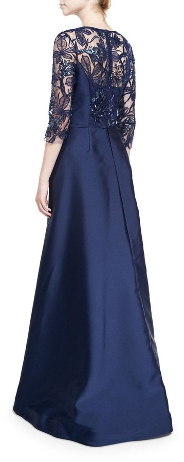 Rickie Freeman for Teri Jon 3/4-Sleeve Embellished Floral Tulle Ball Gown, Navy 2