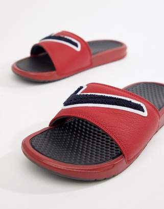 Nike Benassi JDI Chenille Sliders In Red AO2805-600
