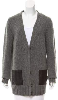 Barneys New York Barney's New York Leather-Accented Cashmere Cardigan