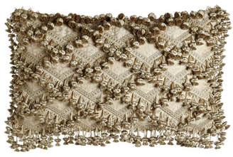 "Sweet Dreams Kensington Garden Matelasse/Leopard Pillow with Beaded Scalloped Ends, 25"" x 13"""