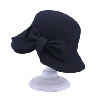 a4ed6cfc9db YSJOY Accessory YSJOY Elegant Bowknot 100% Wool Pillbox Hat Winter Hat  British Style Derby Hat