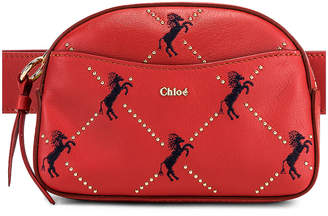 Chloé Signature Embroidered Leather Belt Bag in Earthy Red | FWRD