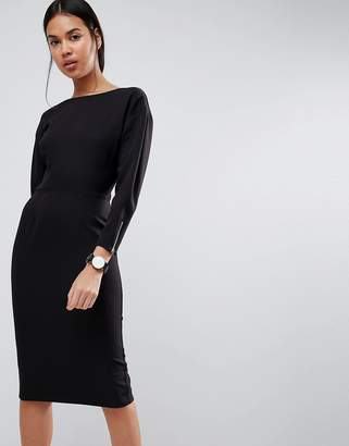 Asos Long Sleeve Midi Pencil Dress