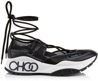 Jimmy Choo MICHIGAN Black Mesh and Patent Nappa Leather Trainer with Espadrille Straps
