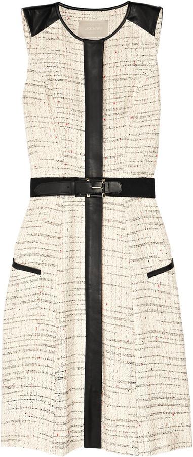 Jason Wu Belted leather-trimmed tweed dress