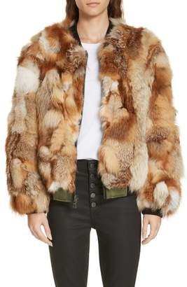 Alice + Olivia Becky Reversible Genuine Fox Fur Bomber Jacket