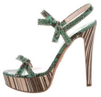 Prada Bow-Accented Snakeskin Sandals
