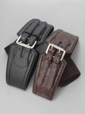 Snakeskin Pattern Double Buckle Belt