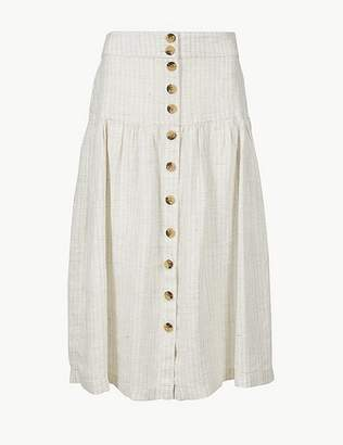 Marks and Spencer Pure Linen Checked A-Line Midi Skirt