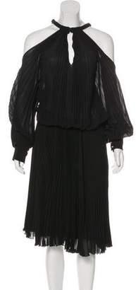 Fendi Plissé Cold Shoulder Dress