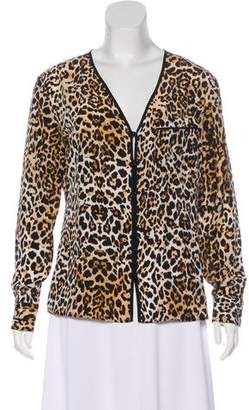 Rachel Zoe Leopard Print Long Sleeve Top