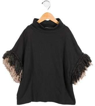 Douuod Girls' Wool-Trimmed Mock Neck Top