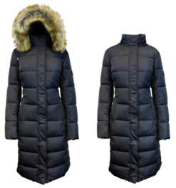 Spire By Galaxy Long Heavyweight Bubble Parka Jacket with Faux Fur Hood