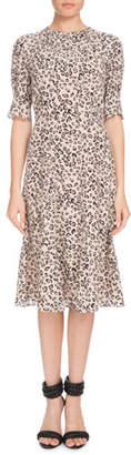 Altuzarra Jae Shirred-Neck Short-Sleeve Leopard-Print Silk Dress
