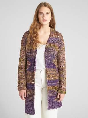 Gap Jacquard Longline Open-Front Sweater
