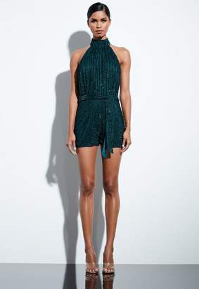 Missguided Teal High Neck Sequin Romper