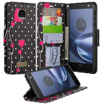 Coverlab Moto Z Force Droid Case, Wrist Strap Flip Folio [Kickstand] Pu Leather Wallet Case with ID & Credit Card Slots & Money Pocket - Polka Dot Hearts