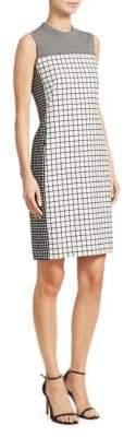 Akris Punto Grid Print Sleeveless Sheath Dress