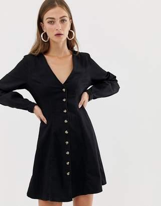 Asos Design DESIGN denim long sleeve button through tea dress in washed black