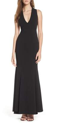 LuLu*s Heaven & Earth Plunge Neck Gown