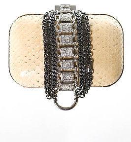 Jimmy ChooJimmy Choo Beige Python Skin Chain Crystal Cloud Clutch Handbag