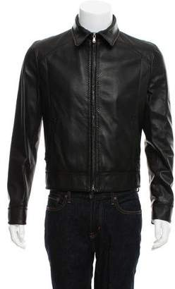 Dolce & Gabbana Accented Stitch Leather Jacket
