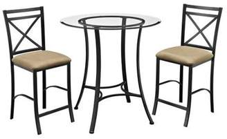 Dorel Living Valerie 3-Piece Counter-Height Glass and Metal Dining Set