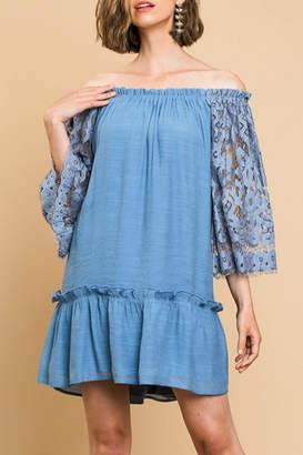 Umgee USA Lace-Sleeve Off-The-Shoulder Dress