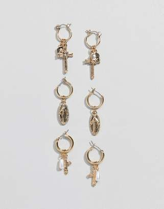 Asos Design DESIGN pack of 3 hoop earrings with vintage style faux pearl and icon design in gold