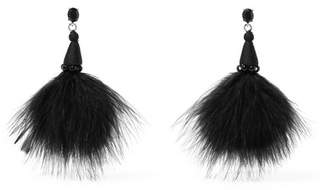 Oscar de la Renta - Feather, Crystal And Bead Earrings - Black $450 thestylecure.com