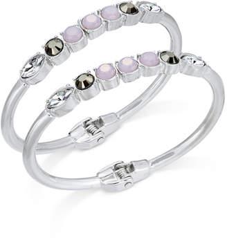 INC International Concepts I.N.C. Silver-Tone 2-Pc. Set Multi-Stone Hinged Bangle Bracelets, Created for Macy's