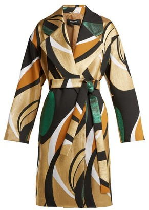 Rochas Metallic Jacquard Belted Coat - Womens - Gold Multi