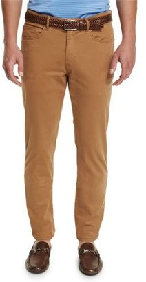 Peter Millar Five-Pocket Stretch-Sateen Pants, Brown $145 thestylecure.com