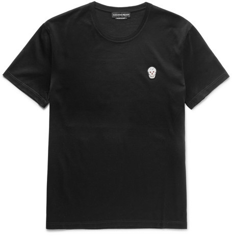 Alexander McQueen Skull-Appliquéd Mercerised Cotton-Jersey T-Shirt
