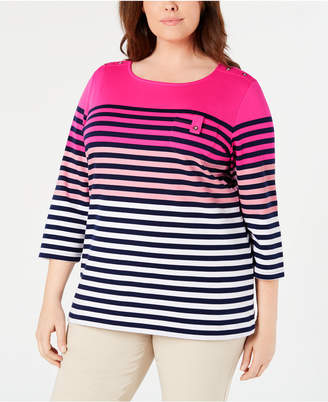 80449e21823 Karen Scott Plus Size Printed 3 4-Sleeve Top