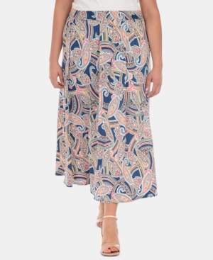 NY Collection Plus Size Printed Maxi Skirt