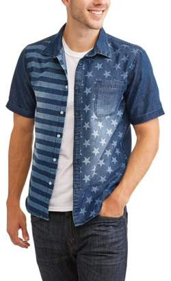 Hollywood Men's Chambray Shirt With Printed American Flag