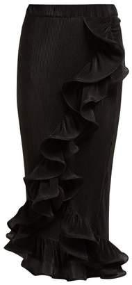 Romance Was Born Bloom Ruffled Plisse Midi Skirt - Womens - Black