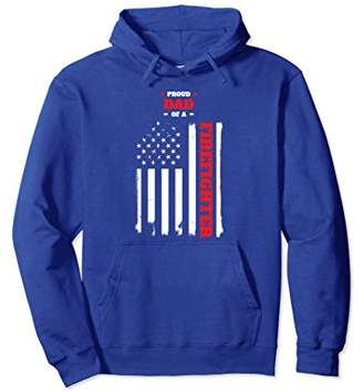 Proud Dad of a Firefighter Distressed American Flag Hoodie