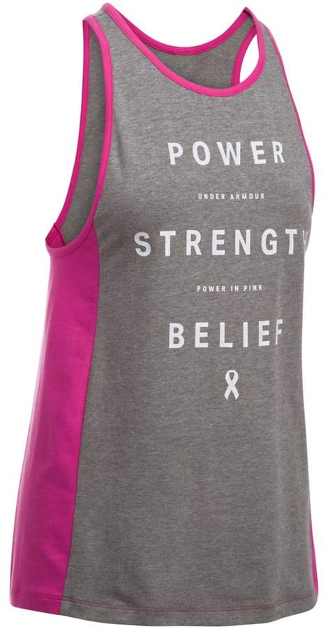 "Under Armour Women's Under Armour Power In Pink ""Power Strength Belief"" Graphic Tank"