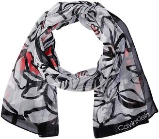 Calvin Klein Abstract Floral Shadow Stripe Scarf Scarves