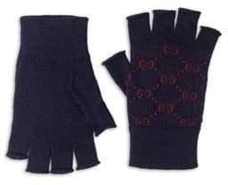 Gucci Logo Alpaca Wool Fingerless Gloves