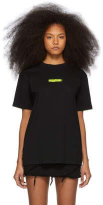 Marcelo Burlon County of Milan Black and Yellow Peligro T-Shirt