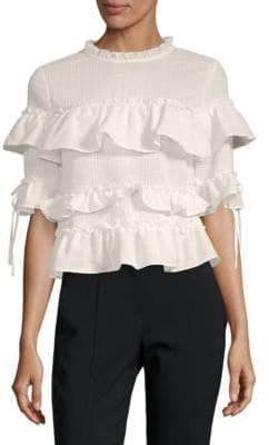 ENGLISH FACTORY Ruffled Short-Sleeve Top