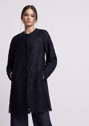 Emporio Armani Duster Coat In Macrame With Geometric Design